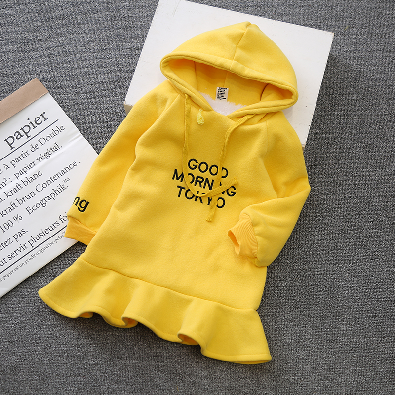 Girl thickened lambskin dress 2017 winter new Korean children's clothing hooded letter print Sweater dress child school clothing cat print hooded dress