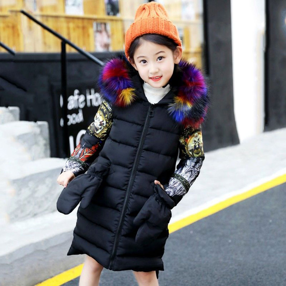 Winter Thick Jacket For Girls Cartoon Girls Parka Print Coat For Kids Teenage Autumn Clothing For Girls 6 8 12 14 Years цена 2017