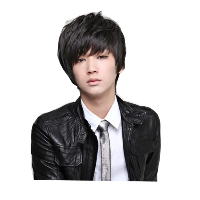 mens handsome wigs nautral hair heat resistant synthetic wigs black short man wig cosplay costume korean