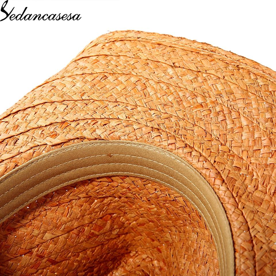 Image 5 - Protección UV verano sombreros de sun para el hombre las mujeres hecho a mano de rafia paja gorra Trilby Vacaciones de playa bien WGB0500005-in Los hombres de sombreros de sol from Accesorios para la ropa on AliExpress