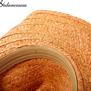 Image 5 - הגנת UV קיץ שמש כובעי לגבר נשים בעבודת יד רפיה קש טרילבי שווי חוף חג מגניב WGB0500005