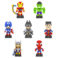 7 estilos diseño superhéroe loz mini bloques batman iron man spider vengadores Capitán América Hulk Thor Ladrillos de Juguete de Regalo con la Caja
