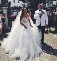 YNQNFS IWD3 Puffy Tulle Floor Length Vintage Arabic Bridal Dress Gown Princess Wedding Party Dress 2019