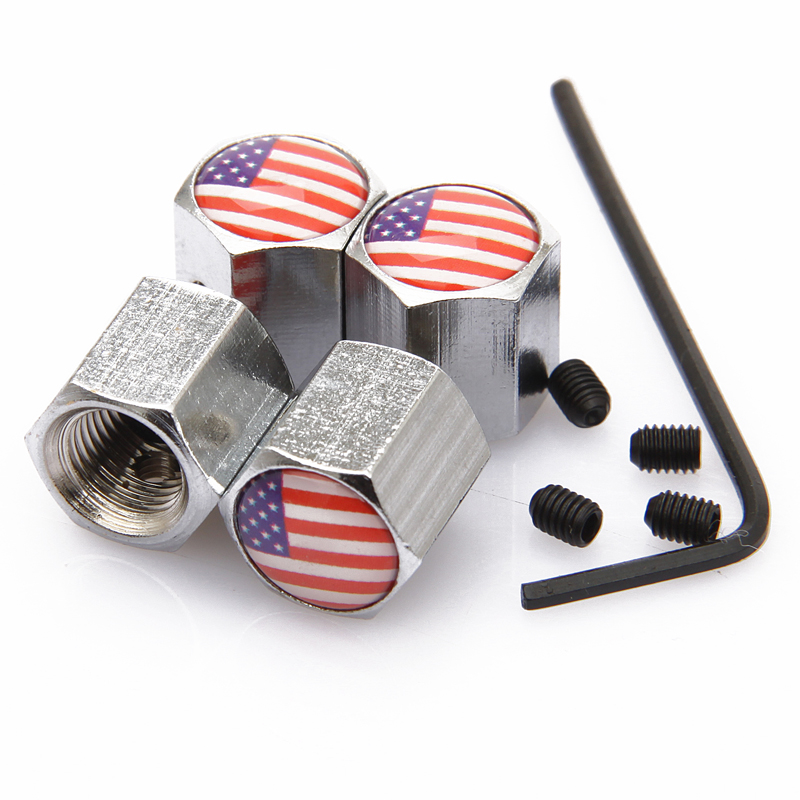 Car Styling Wheel Tyre Tire Valve Stems Anti-theft Caps Personalized Air Dust Covers USA Italy American National Flags