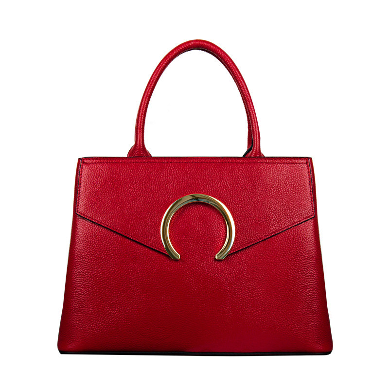 LHLYSGS brand hand bags genuine leatherbags for women 2018 Leather bag style European and American new stylish top leather lady stylish jewel neck backless pu leather top for women