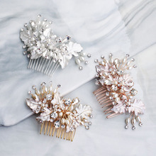 Floralbride Handmade Crystal Rhinestone Pearls Flower Leaf Wedding Hair Comb Bridal Headdress Hair Accessories Women Jewelry phoenix wedding hair jewelry chinese style handmade red crystal bridal jewelry animal headdress tassels hair accessories