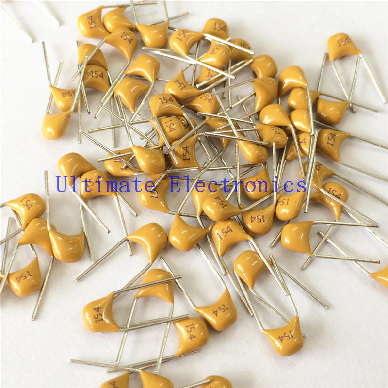 100pcs/lot  Multilayer Ceramic Capacitor 0.15uF 154 50V 150nF 154M P=5.08mm