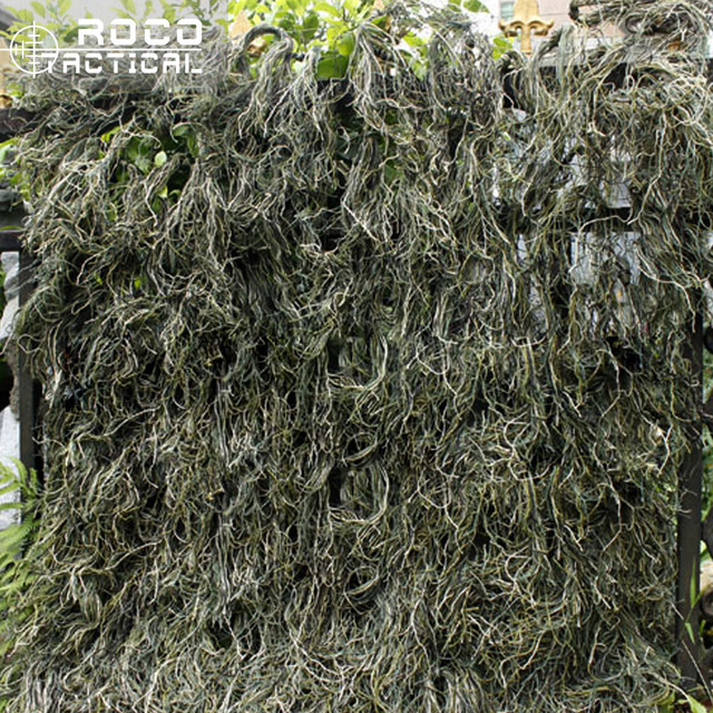 US $27 9 |ROCOTACTICAL Synthetic Camo Ghillie Netting 80x90cm Woodland  Military Thread Camouflage Netting for Airsoft Paintball Hunting-in Hunting