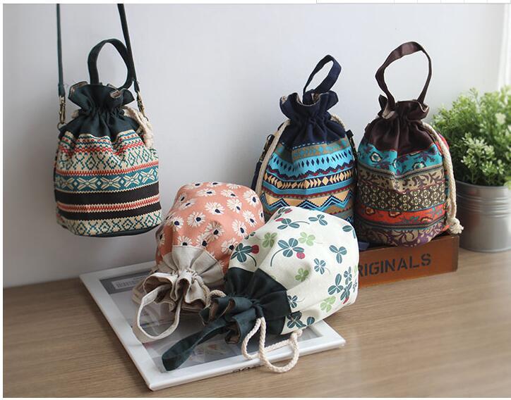 Canvas Drawstring Bucket Bag Shoulder Handbags Floral Bucket Tote Shoulder Crossbody Bag