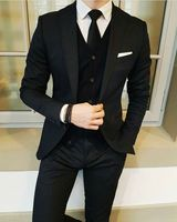 Latest Coat Pant Designs Black Wedding Suits For Men Slim Fit 3 Piece Skinny Blazer Custom Groom Prom Tuxedo Jacket Men Terno #