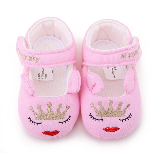 Baby Toddler Infant cute Shoes First Walkers Girls Autumn Crown Lips  Cartoon Soft Sole Baby princess Crib Shoes a773f3bd4a9a