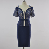 Новое Приталенное кружевное прямое платье без рукавов с вышивкой из шелка и полиэстера