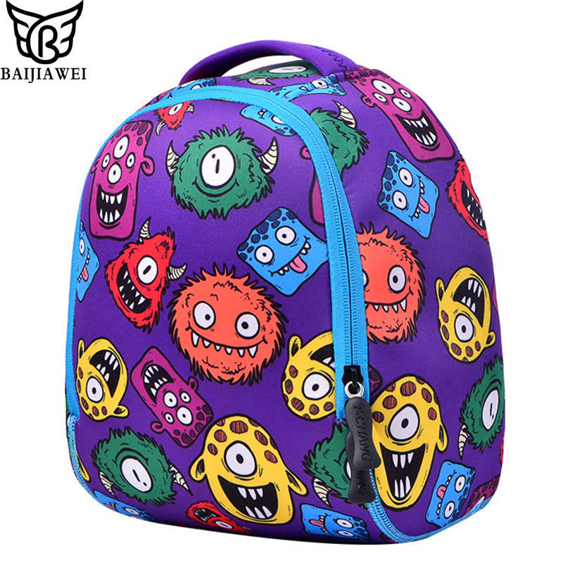 Baijiwei pequeño monstruo bolso de escuela para niños mochila de jardín de infantes de bebé impermeable de cuatro pines bolsa de hombro de seis cables