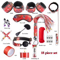 SM Tool 18pcs Sex Accessories For Couples Bondage Restraint Handcuffs Whip Rope Blindfold Nipple Clamps Fetish Sexy Lingerie