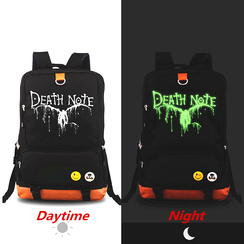 2017 New Anime Cartoon Death Note LOGO Luminous Backpack Men Women Canvas Travel Rucksack School Bags Backpacks Laptop bag high quality anime death note luminous printing backpack mochila canvas school women bags fashion backpacks for teenage girls