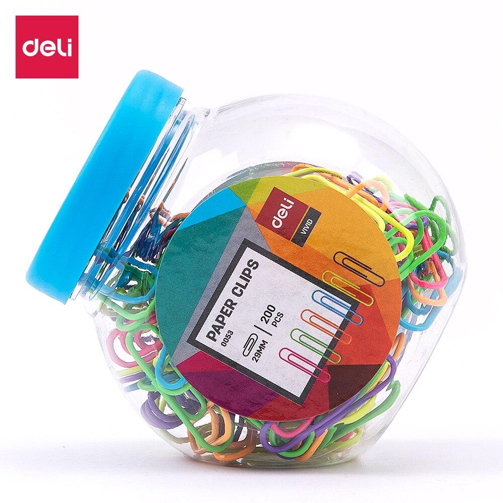 DELI E0053 Color Paper Clip 29mm - 200PCS/Barrel - MIX COLOR:RED,GREEN,BLUE,YELLOW,PURPLE - Round Clip