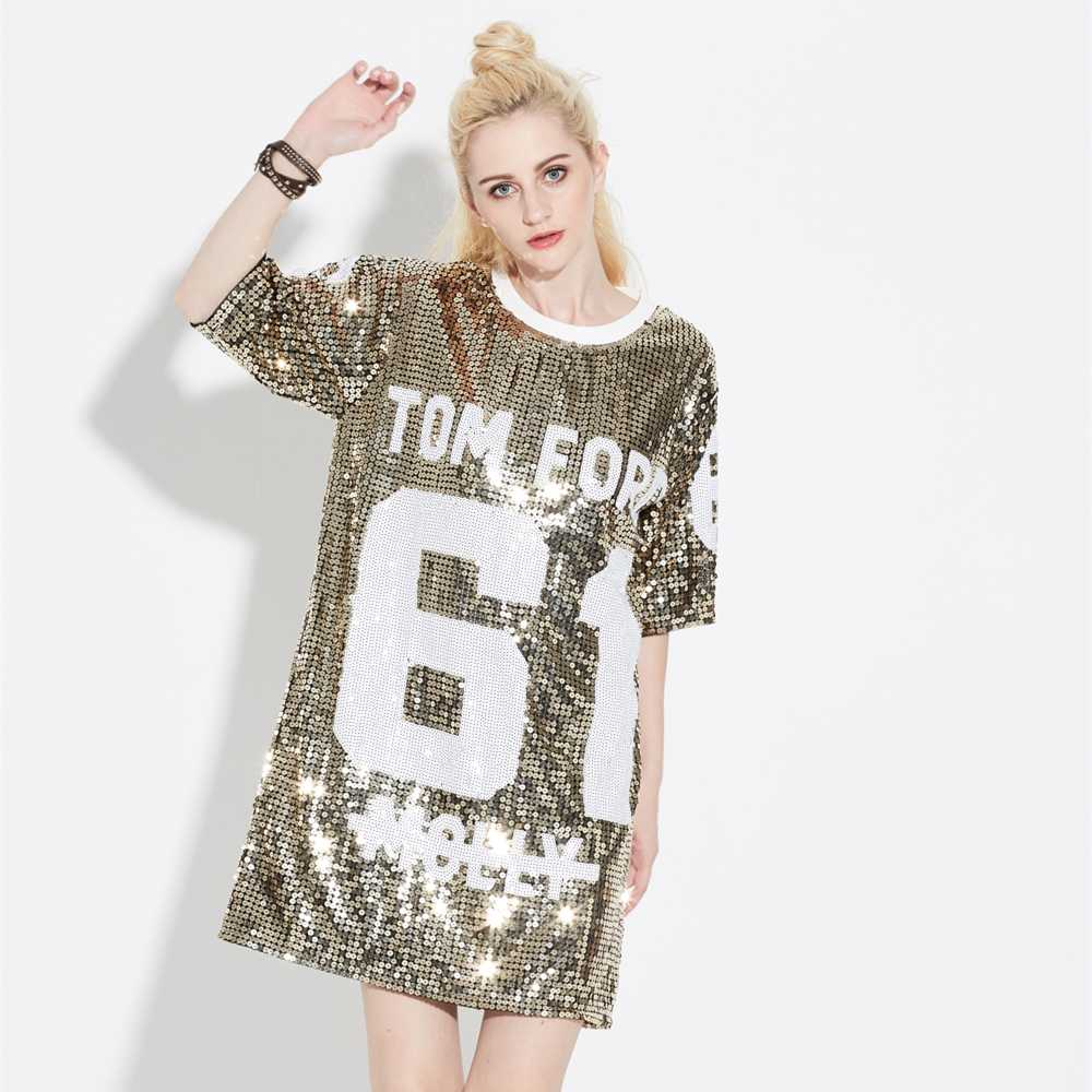 a6c65a76 Detail Feedback Questions about Summer Glitter Club Dance Costumes Mini Sequin  T Shirt Dress Streetwear Oversized Loose Causal 61 Letter Graphic Shift  Dress ...