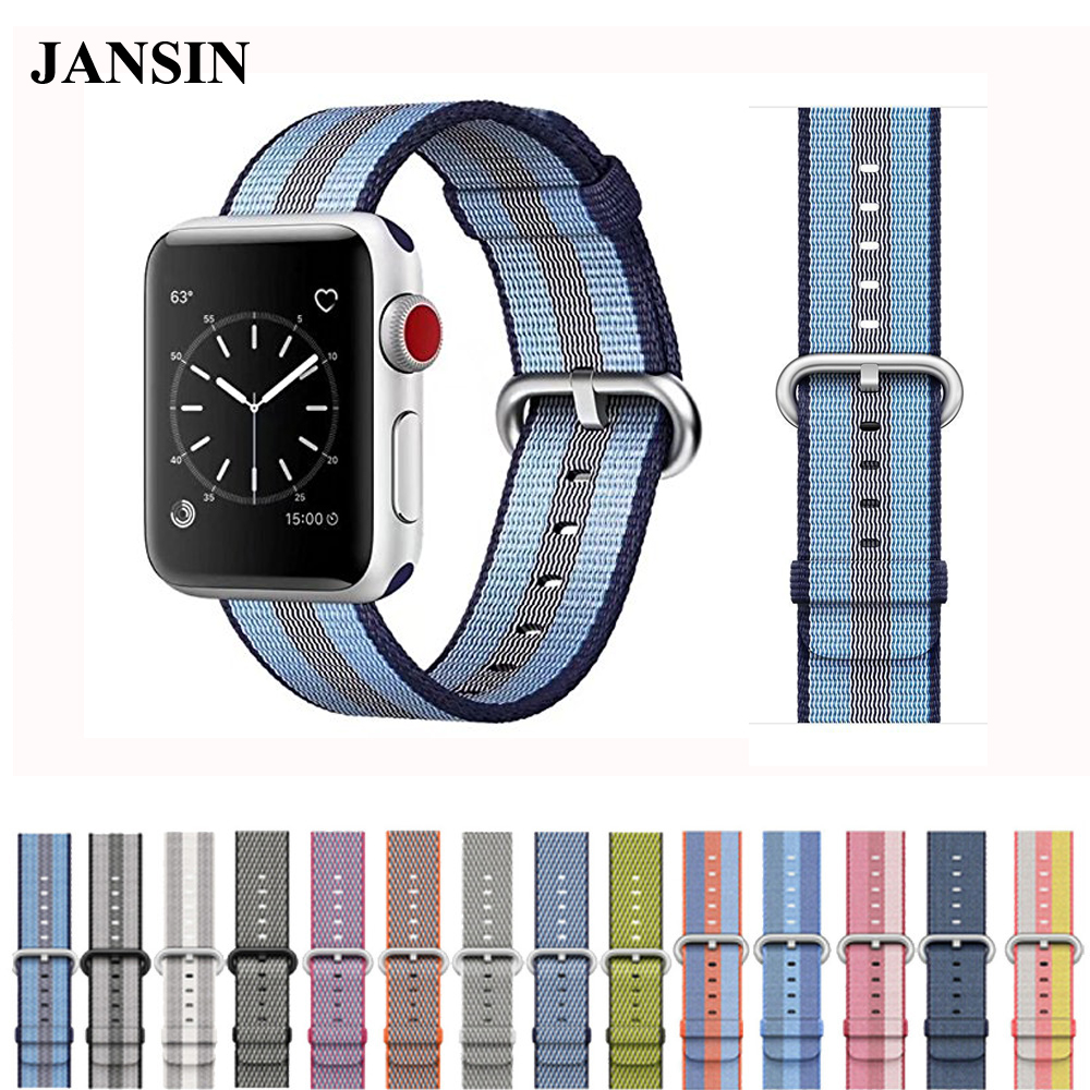 JANSIN Sport woven nylon strap band for apple watch 42mm 38mm colorful wrist bracelet fabric-like nylon band for iwatch 3/2/1