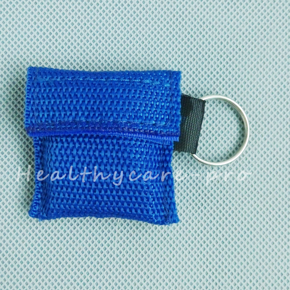 100 PCS /lot CPR MASK WITH KEYCHAIN CPR FACE SHIELD For Cpr/AED BLUE COLOR NEW