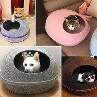 Dog Cat Cave Sleeping Bag Zipper Egg Shape Felt Cloth Cat Nest With Detachable Cushion Mat Cozy Bed for Kitten Dogs 4Colors