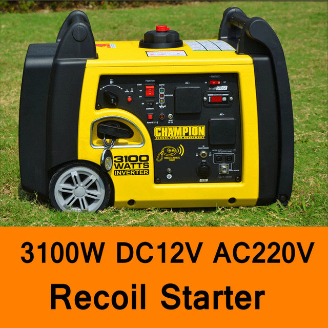 3100W DC 12V AC 220V Gasoline Inverter Generator Recoil Starter Home Car Household Gasoline Generators Portable Silent Generator
