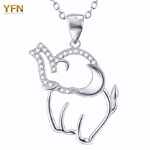 YFN Genuino 925 Plata Esterlina Lindo Elefante Collar Nuevo 2016 Joyería de Moda Cubic Zirconia Collares pendientes GNX9019