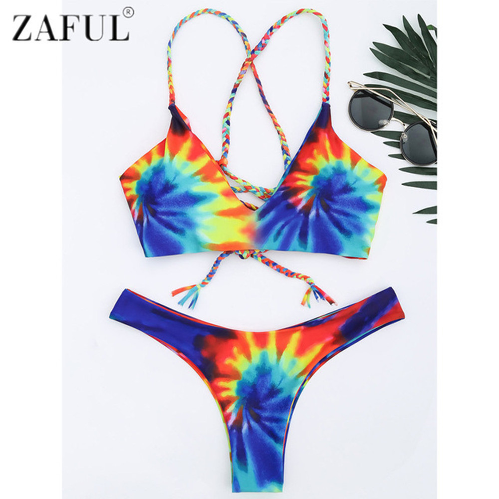 Zaful 2017 New Women Tie Dye Braided Criss Cross Bikini Set Sexy Spaghetti Straps Beach Swimwear Women Swimsuit Bathing Suit 2017 new cross straps bikini sexy high waist swimwear women print floral swimsuit bottoms beach bathing suit women bikini set