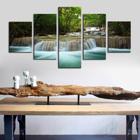 Canvas Wall Art Waterfall Lake Nature Painting Modern Large Canvas Artwork Contemporary Pictures Green Trees Forest Decoration