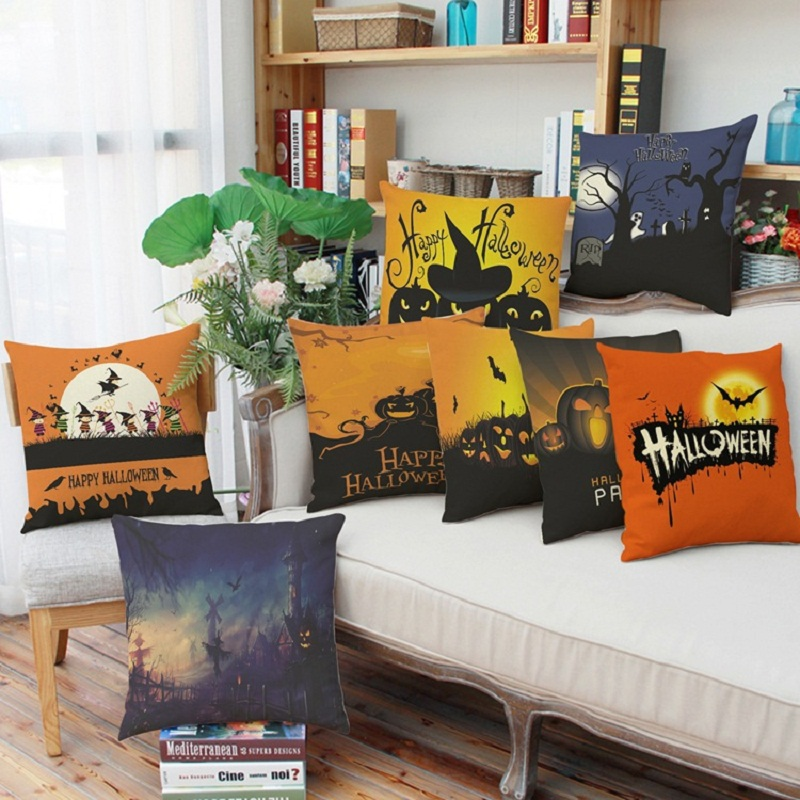 2016 Home Textile High Quality Halloween Pillow Cover Scandinavian Standard Linen Decorative Pillowcase Office Pillow mat Pillow