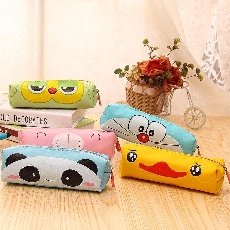 Student Cute Kawaii Doraemon PU Pencil Case Cartoon Panda Bear Pencil Bag Pen Box For Kids School Supplies 032