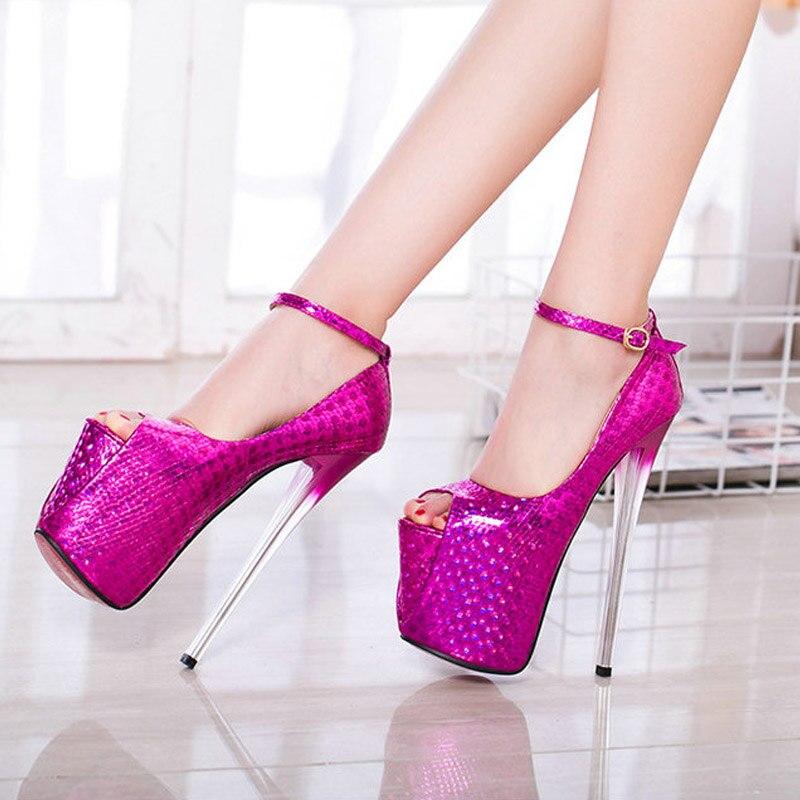 GRANDE TAILLE 43 super Haute Talons De Mariage Parti Chaussures Femmes Pompes Haute Talons 20 cm Semelles Épaisses Ouvert peep Toe sexy Pompes Plate-Forme NN-99