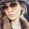 Moda feminina cat eye sunglasses marca designer homens populares espelho quadrado óculos de metal pernas uv400