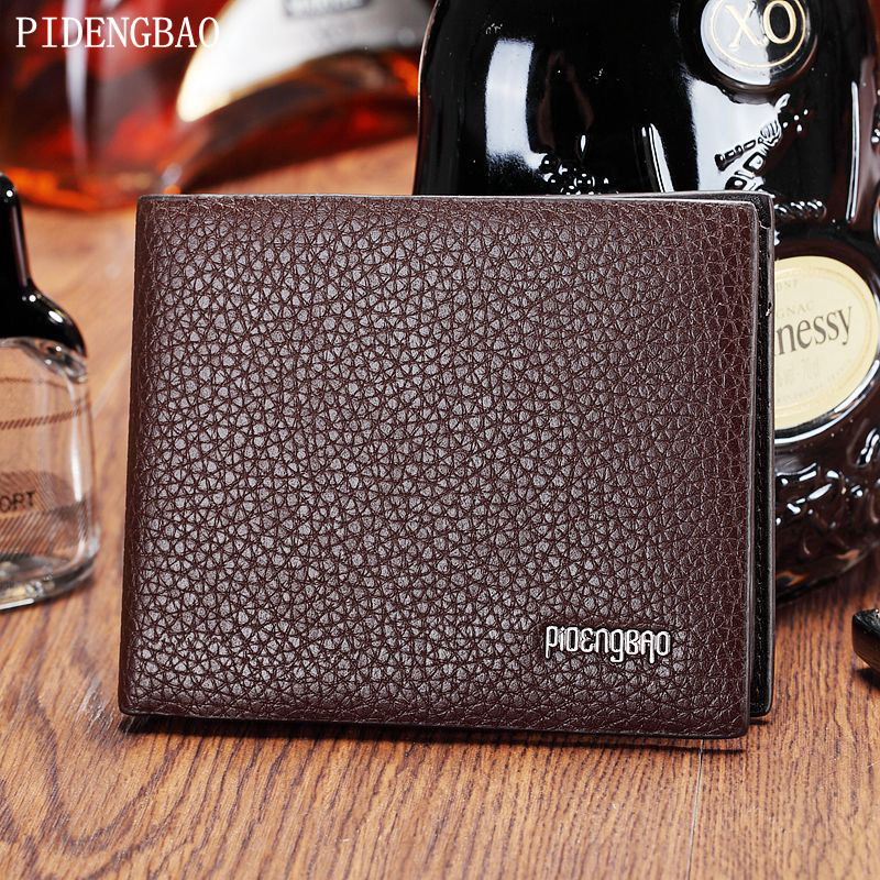 PIDENGBAO Classic Casual Men's Wallet Short Pocket Men Litchi pattern Wallets Luxury Male Purse With Card Holder Dollar Price baellerry small mens wallets vintage dull polish short dollar price male cards purse mini leather men wallet carteira masculina