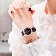 Горный хрусталь часы Дамская мода розовое золото часы с кожаным ремешком женское Повседневное платье кварцевые наручные часы reloj mujer женские часы