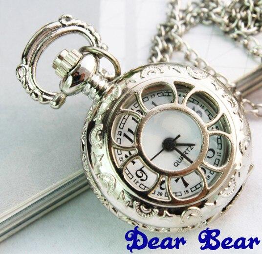 3009) 12 шт/партия винтажные Цветочные полые прозрачные стимпанк женские ожерелья карманные часы, вечерние подарок