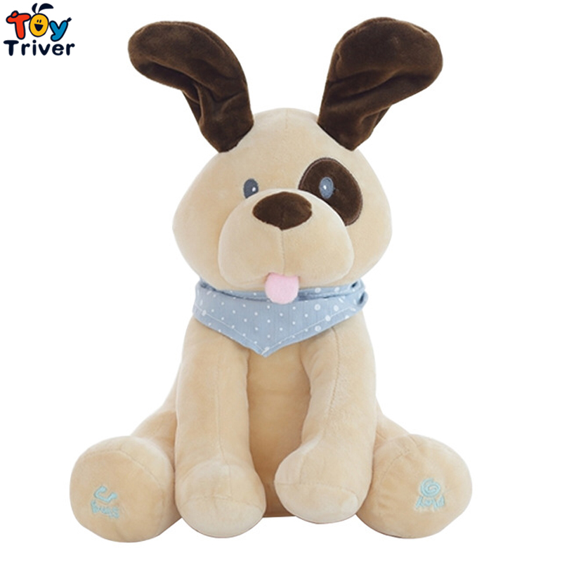 Plush Peek A BOO Dog Toy PEEK-A-BOO Singing Baby Music Toys Ears Flaping Move Interactive Electronic Pet Doll Children Kids Gift peek a boo elephant plush toy blue ears electronic elephant toy play hide and seek baby kids soft doll birthday gift for child