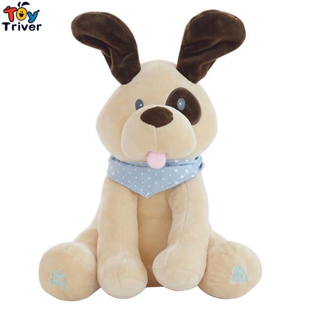 Plush Peek A Boo Dog Toy Peek A Boo Singing Baby Music Toys Ears