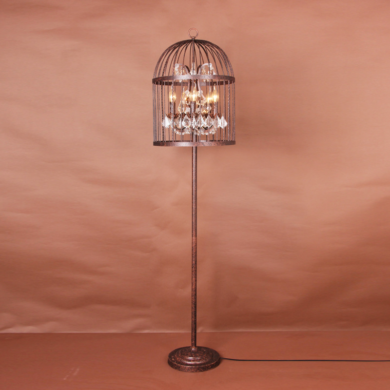 Online Shop American markor furnishings iron birdcage floor lamp brief |  Aliexpress Mobile