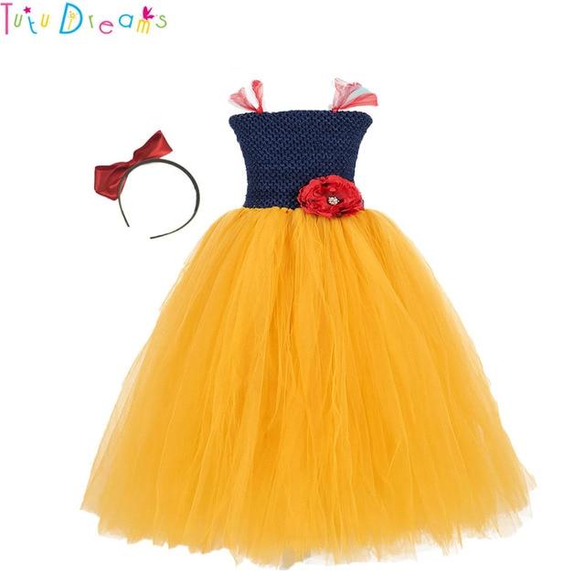 732d434fe Handmade Navy Blue Girl Tutu Dress Red Flower Girls Birthday Party Snow  White Cosplay Tutu Dresses For Princess Halloween Custom