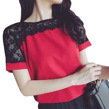 0ae34343ade9f Plus Size Women Blouses Lace Chiffon Blouse Casual Blusa Feminina o neck  short sleeve patch lace