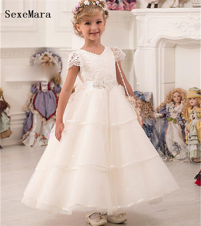 Romantic Puffy Lace Flower Girl Dress for Weddings Tulle Ball Gown Girl Party Communion Dress Pageant Gown Christmas Dress new sky blue tulle flower girl dresses for weddings lace ball gown pageant dress floor length party communion dress with sash
