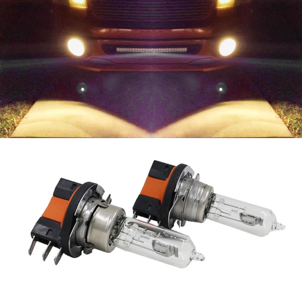 2x h15 lâmpada de halogéneo 15/55 w 12 v luzes de nevoeiro/alta feixe headlig lâmpadas 4300 k-5000 k carro de vidro claro fonte de luz
