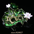 NEW 2 Frogs Sitting on Lotus Decoration Art  Design Jewelry Box Czech Crystal Frog Trinket Box Gifts