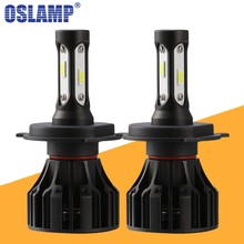 Oslamp T5 H4 LED Headlight H7 H11 H1 H3 COB Chips 8000lm 72w 6500K Car Front Bulb Dipped High Beam Fog Lamp All-in-one DC 12V(China)