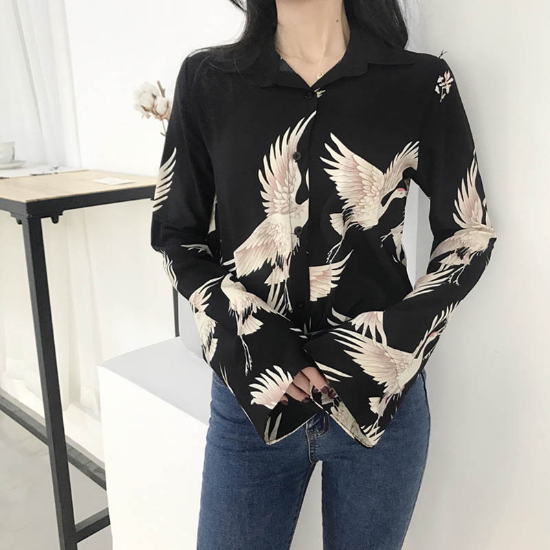 NiceMix Womens Clothing Vogue Vintage Crane Print Blouses 2019 Autumn Long Sleeve Loose Shirts Casual Streetwear Blouse Ladies in Blouses amp Shirts from Women 39 s Clothing
