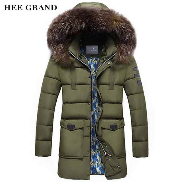 HEE GRAND Men Winter Parkas Casual Style Stand Collar With Detachable Hats Warm Padded Windproof Outwear Plus Size M-4XL MWM1522