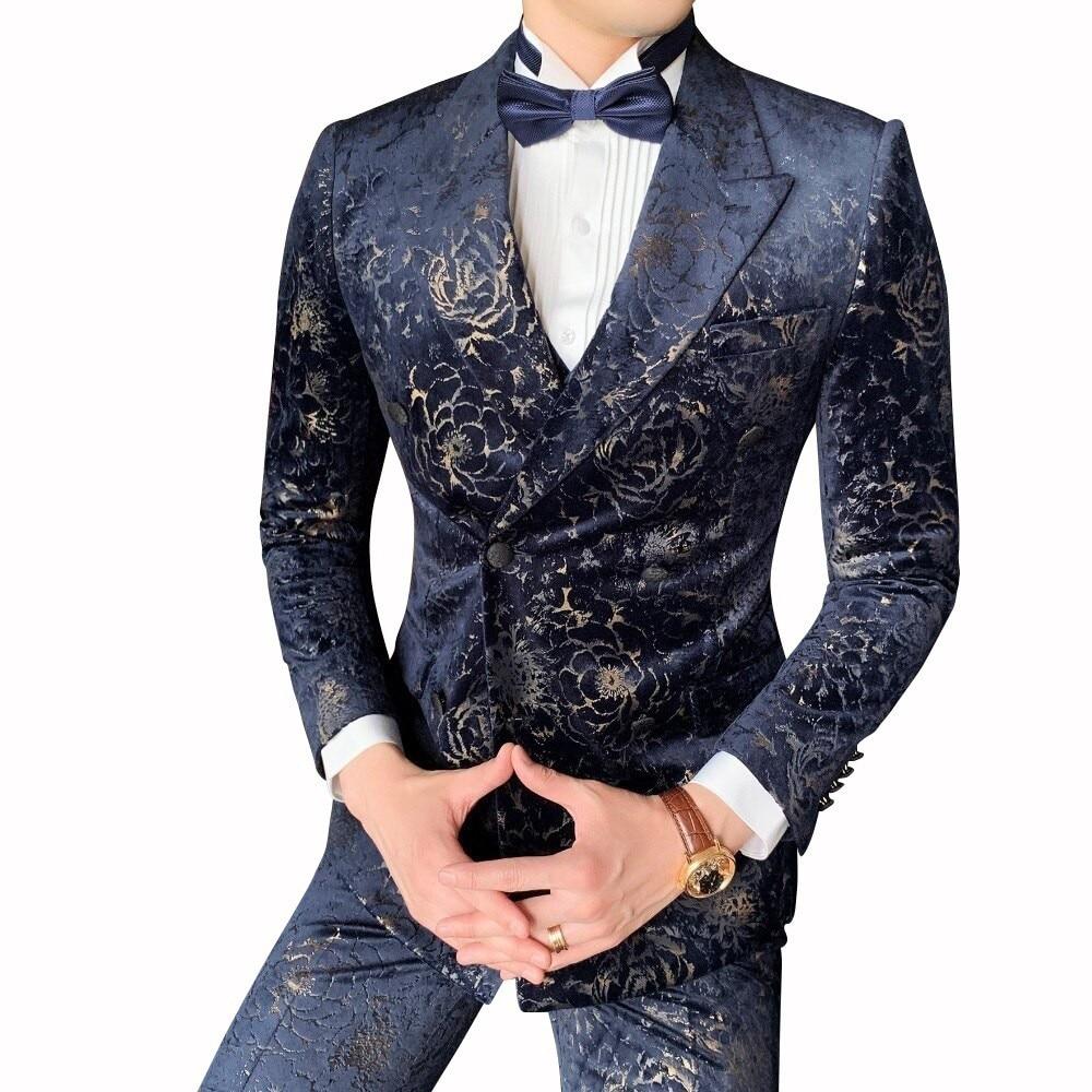 Chic Men/'s Blazers Double Breasted 2PCS Suits Coat Pants Stripe Wedding Clubwear