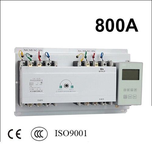 800A 3 poles 3 phase ats 220V/ 230V/380V/440V automatic transfer switch with English controller