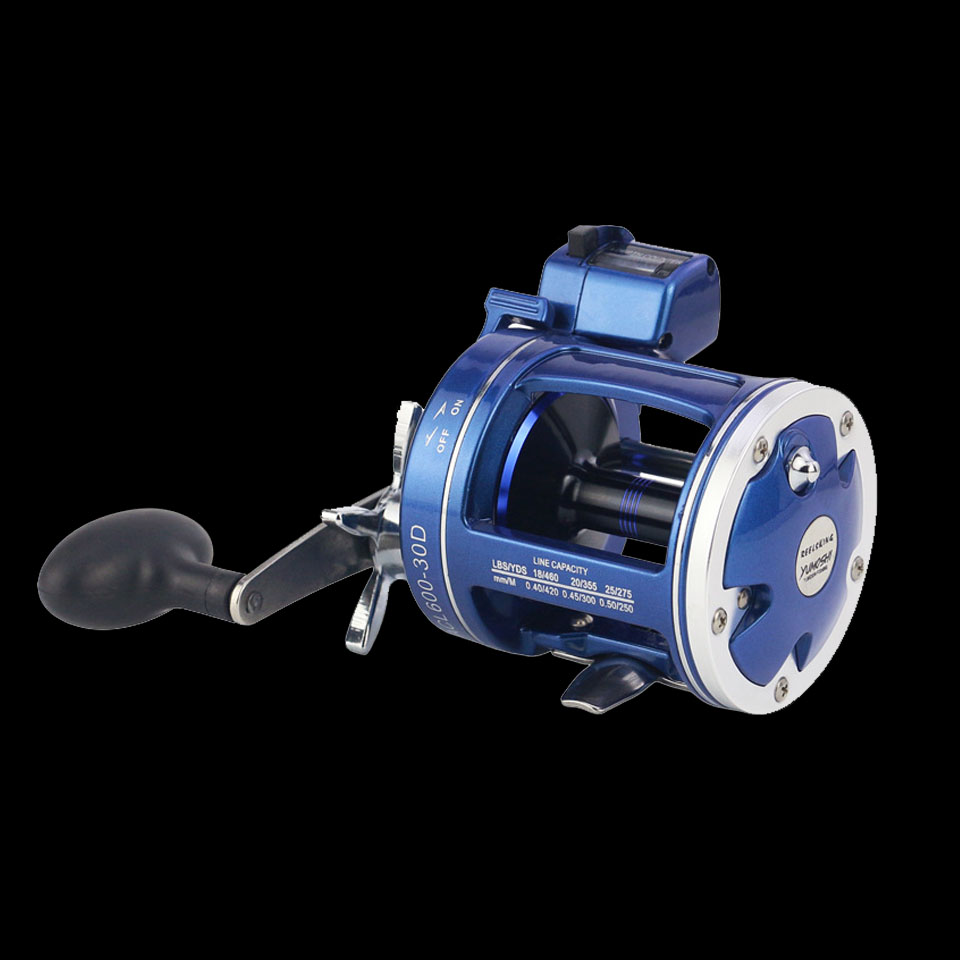 WALK FISH High Strength Aluminum Drum Reel Fishing Line Counter Trolling Fishing Reels 12BB 999FT Depth Finder Counter Meter