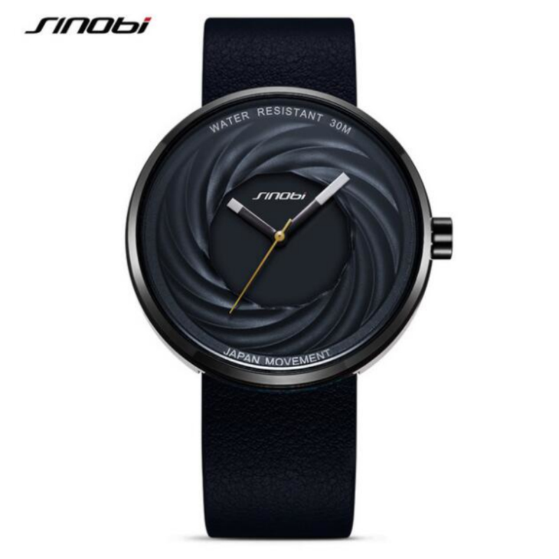 SINOBI Brand Lovers' Wrist Watches Fashion Swirl Watch Men Women's Watches Genuine Leather Unique Men's Watch Clock Saat Relogio